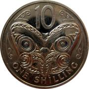 New Zealand 10 Cents (One Shilling) Elizabeth II (2nd portrait) 1968 Prooflike KM# 35 10 ONE SHILLING coin reverse