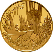 New Zealand $10 Lord of the Rings - Sauron 2003 (l) Proof KM# 271 $10 coin reverse