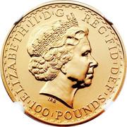UK 100 Pounds Britannia 2003 British Royal Mint KM# 1043 ELIZABETH'II'D'G REG'FID'DEF '100'POUNDS' IRB coin obverse