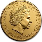 UK 100 Pounds Britannia 2010 Proof KM# 1138 ELIZABETH'II'D'G REG'FID'DEF '100'POUNDS' IRB coin obverse