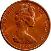 New Zealand 2 Cents Elizabeth II (2nd portrait) 1974 (c) KM# 32.1 ELIZABETH II NEW ZEALAND *YEAR* coin obverse