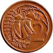 New Zealand 2 Cents Elizabeth II (2nd portrait) 1974 (c) KM# 32.1 2 JB coin reverse