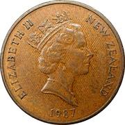 New Zealand 2 Cents Elizabeth II (3rd portrait) 1987 (l) Sets only KM# 59 ELIZABETH II NEW ZEALAND *YEAR* RDM coin obverse