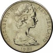 New Zealand 20 Cents Elizabeth II 1981 (l) Proof KM# 36.1 ELIZABETH II NEW ZEALAND *YEAR* coin obverse