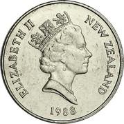 New Zealand 20 Cents Elizabeth II 1988 (l) Proof KM# 62 ELIZABETH II NEW ZEALAND *YEAR* RDM coin obverse