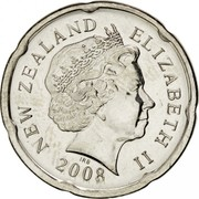 New Zealand 20 Cents Elizabeth II 2008 (o) KM# 118a NEW ZEALAND ELIZABETH II *YEAR* IRB coin obverse