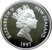 New Zealand 20 Dollars Queen's Golden Wedding Anniversary 1997 Proof KM# 108 ELIZABETH II NEW ZEALAND 1997 RDM coin obverse