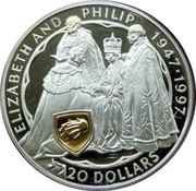 New Zealand 20 Dollars Queen's Golden Wedding Anniversary 1997 Proof KM# 108 ELIZABETH AND PHILIP 1947-1997 20 DOLLARS coin reverse