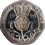 UK 20 Pence 1996 Proof KM# 939a Decimal Coins TWENTY PENCE 19 96 W G 20 coin reverse