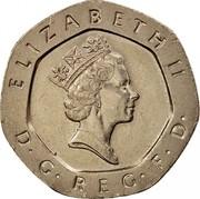 UK 20 Pence Elizabeth II (3rd portrait) 1993 Proof KM# 939 ELIZABETH II D∙G∙REG∙F∙D∙ RDM coin obverse