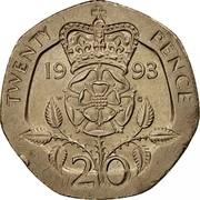 UK 20 Pence Elizabeth II (3rd portrait) 1993 Proof KM# 939 TWENTY PENCE 19 97 W G 20 coin reverse