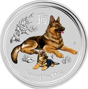 Australia 25 Cents Year of the Dog (Colorized) 2018 YEAR OF THE DOG P IJ coin reverse