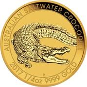 Australia 25 Dollars Australian Saltwater Crocodile 2017 AUSTRALIAN SALTWATER CROCODILE 2017 1/4 OZ 9999 GOLD P NM coin reverse