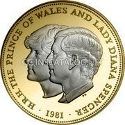 UK 25 Pence Wedding of Prince Charles & Lady Diana 1981 H.R.H. THE PRINCE OF WALES AND LADY DIANA SPENCER 1981 PN coin reverse