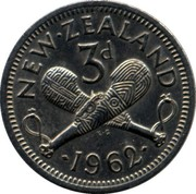 New Zealand 3d Elizabeth II 1962 KM# 25.2 NEW∙ZEALAND 3D ∙*YEAR*∙ K∙G coin reverse