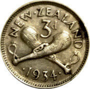 New Zealand 3d George V 1934 KM# 1 NEW∙ZEALAND 3D ∙*YEAR*∙ coin reverse