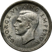 New Zealand 3d George VI 1942 KM# 7 GEORGE VI KING EMPEROR HP coin obverse