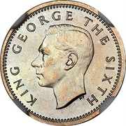 New Zealand 3d George VI 1951 Proof KM# 15 KING GEORGE THE SIXTH HP coin obverse