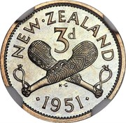 New Zealand 3d George VI 1951 Proof KM# 15 NEW∙ZEALAND 3D ∙*YEAR*∙ K∙G coin reverse