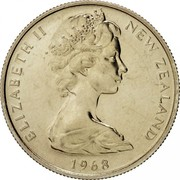 New Zealand 5 Cents Elizabeth II (2nd portrait) 1968 Prooflike KM# 34.1 ELIZABETH II NEW ZEALAND *YEAR* coin obverse