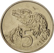 New Zealand 5 Cents Elizabeth II (2nd portrait) 1968 Prooflike KM# 34.1 5 JB coin reverse