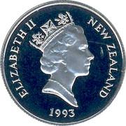 New Zealand 5 Cents Elizabeth II (3rd portrait) 1993 (l) Proof KM# 60 ELIZABETH II NEW ZEALAND *YEAR* RDM coin obverse