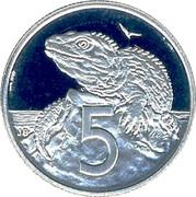 New Zealand 5 Cents Elizabeth II (3rd portrait) 1993 (l) Proof KM# 60 5 JB coin reverse
