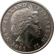 New Zealand 5 Cents Elizabeth II (4th portrait) 2003 (c) Sets only KM# 116 NEW ZEALAND ELIZABETH II *YEAR* IRB coin obverse