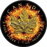 Canada 5 Dollars Burning Maple Leaf 2016 CANADA 9999 9999 FINE SILVER 1 OZ ARGENT PUR coin reverse