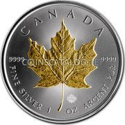 Canada 5 Dollars Golden Maple Leaf 2014 CANADA 9999 9999 FINE SILVER 1 OZ ARGENT PUR coin reverse