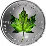 Canada 5 Dollars Green Maple Leaf 2014 CANADA 9999 9999 FINE SILVER 1 OZ ARGENT PUR coin reverse