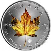 Canada 5 Dollars Yellow Maple Leaf 2014 CANADA 9999 9999 FINE SILVER 1 OZ ARGENT PUR coin reverse
