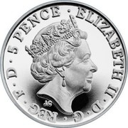 UK 5 Pence (Britannia) 5 PENCE ELIZABETH II D G REG F D J.C coin obverse