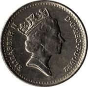 UK 5 Pence Crowned Thistle 1992 KM# 937b ELIZABETH II D∙G∙REG∙F∙D∙1992 RDM coin obverse
