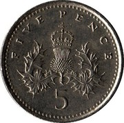 UK 5 Pence Crowned Thistle 1992 KM# 937b FIVE PENCE 5 coin reverse