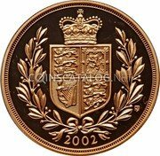 UK 5 Pounds 2002 British Royal Mint KM# 1028 British Royal Mint Sovereign Coins 2002 TN coin reverse