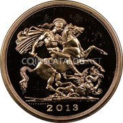 UK 5 Pounds 2013 British Royal Mint Proof KM# 1003.1 British Royal Mint Sovereign Coins 2013 coin reverse