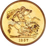 UK 5 Pounds George VI 1937 Proof KM# 861 coin reverse