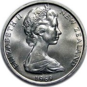 New Zealand 50 Cents 200th Anniversary of the Voyage of James Cook 1969 KM# 39 ELIZABETH II NEW ZEALAND 1969 coin obverse