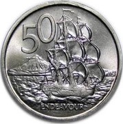 New Zealand 50 Cents 200th Anniversary of the Voyage of James Cook 1969 KM# 39 50 ENDEAVOUR coin reverse