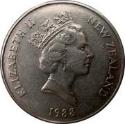 New Zealand 50 Cents Endeavour - Elizabeth II (3rd portrait) 1988 (l) KM# 63 ELIZABETH II NEW ZEALAND *YEAR* RDM coin obverse