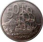 New Zealand 50 Cents Endeavour - Elizabeth II (3rd portrait) 1988 (l) KM# 63 50 ENDEAVOUR coin reverse