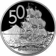 New Zealand 50 Endeavour 2008 (l) Proof KM# 119a 50 ENDEAVOUR JB coin reverse