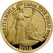 UK 50 Pence Britannia 2016 British Royal Mint Proof KM# 1288 BRITANNIA 1/40 OZ FINE GOLD 999.9 2016 SZ coin reverse