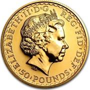 UK 50 Pounds Britannia 2001 British Royal Mint Proof KM# 1022 ELIZABETH'II'D'G REG'FID'DEF '50'POUNDS' IRB coin obverse