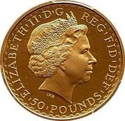 UK 50 Pounds Britannia 2003 British Royal Mint KM# 1042 ELIZABETH'II'D'G REG'FID'DEF '50'POUNDS' IRB coin obverse