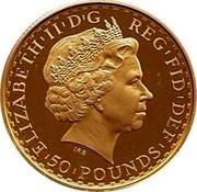 UK 50 Pounds Britannia 2005 British Royal Mint Proof KM# 1070 ELIZABETH'II'D'G REG'FID'DEF '50'POUNDS' IRB coin obverse