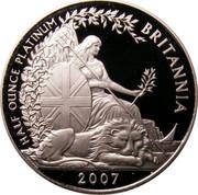 UK 50 Pounds Britannia 2007 British Royal Mint Proof KM# 1277 HALF OUNCE PLATINUM BRITANNIA 2007 coin reverse