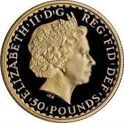UK 50 Pounds Britannia 2008 British Royal Mint Proof KM# 1101 ELIZABETH'II'D'G REG'FID'DEF '50'POUNDS' IRB coin obverse