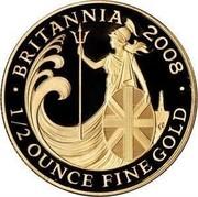 UK 50 Pounds Britannia 2008 British Royal Mint Proof KM# 1101 BRITANNIA 2008 1/2 OUNCE FINE GOLD coin reverse